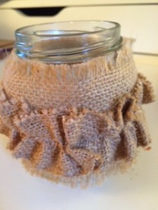 Ribbon Jars Ruffled Burlap